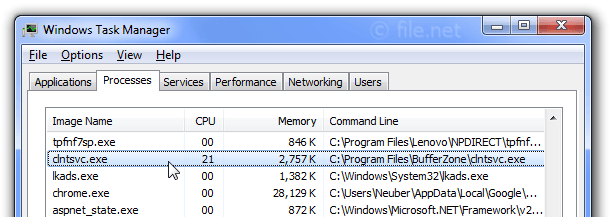 Windows Task Manager with clntsvc