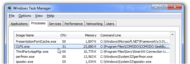 Windows Task Manager with CLPS