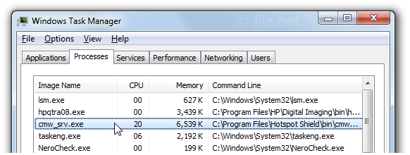 Windows Task Manager with cmw_srv