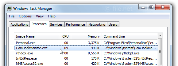 Windows Task Manager with ComHookMonitor