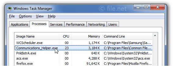 Windows Task Manager with Communications_Helper
