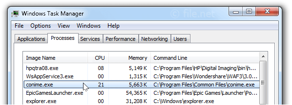 Windows Task Manager with conime