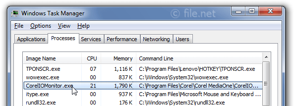 Windows Task Manager with CorelIOMonitor