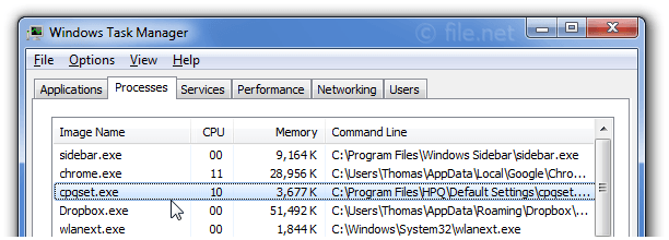 Windows Task Manager with cpqset