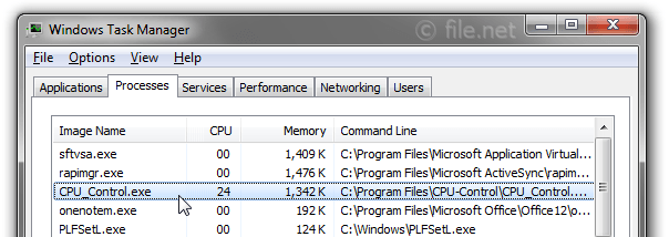 Windows Task Manager with CPU_Control