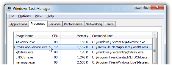 Windows Task Manager with CrossLoopService
