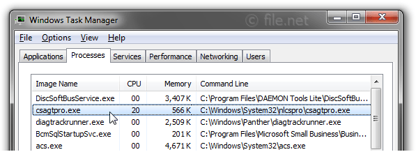 Windows Task Manager with csagtpro