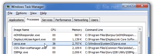 Windows Task Manager with csrcs