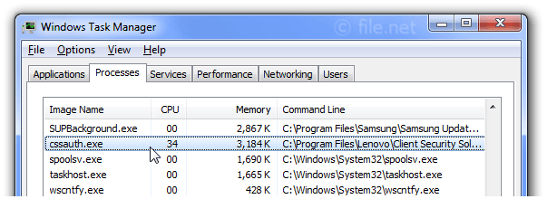 Windows Task Manager with cssauth