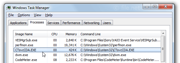 Windows Task Manager with ctsvccda