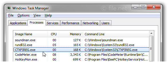 Windows Task Manager with CTXFIREG