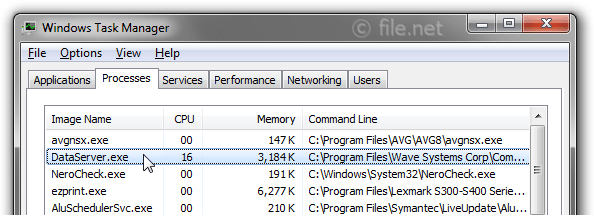 Windows Task Manager with DataServer