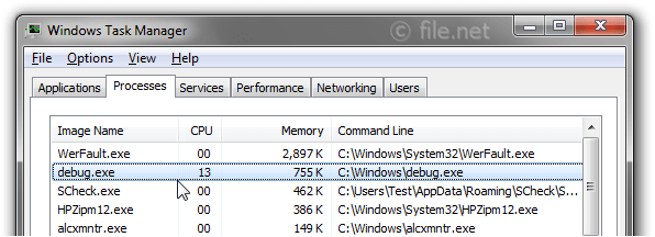 Windows Task Manager with debug