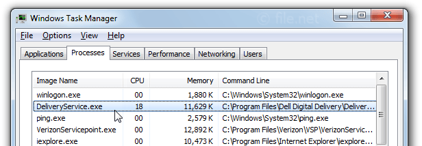 Windows Task Manager with DeliveryService