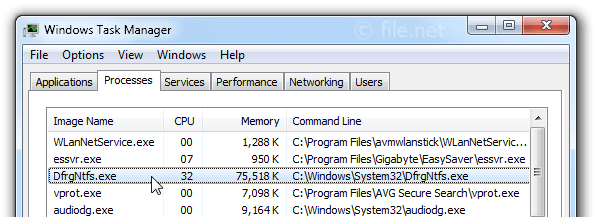Windows Task Manager with DfrgNtfs