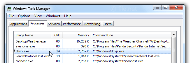 Windows Task Manager with dhvp