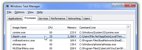 Windows Task Manager with dispdrv