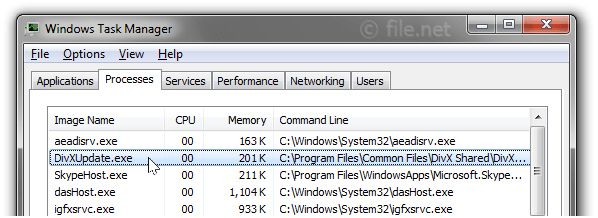 Windows Task Manager with DivXUpdate