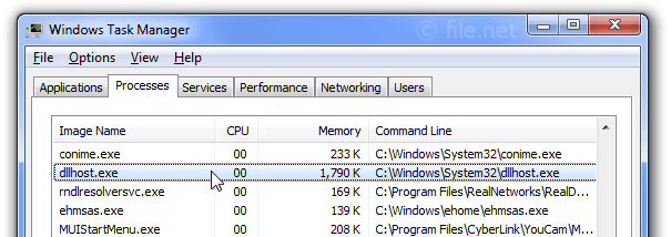 Windows Task Manager with dllhost
