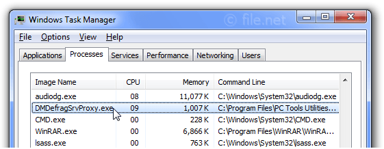 Windows Task Manager with DMDefragSrvProxy