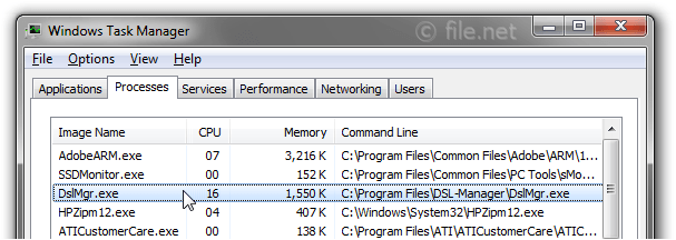 Windows Task Manager with DslMgr