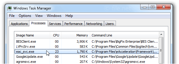 Windows Task Manager with eac_svc