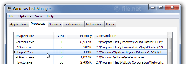 Windows Task Manager with ebapix32