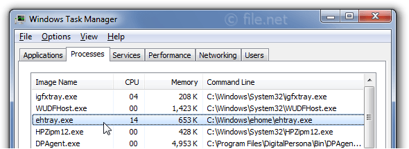 Windows Task Manager with ehtray