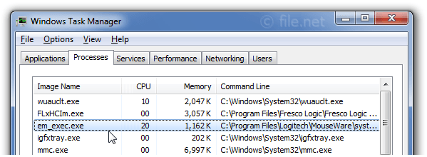 Windows Task Manager with em_exec