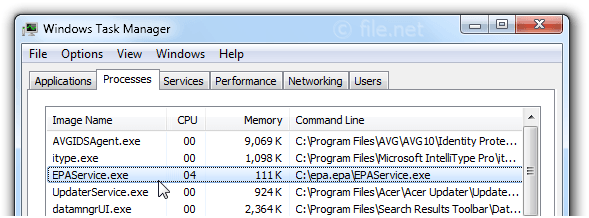 Windows Task Manager with EPAService