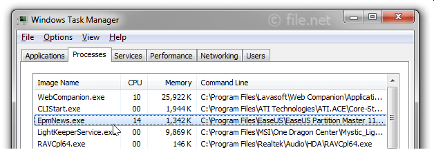 Windows Task Manager with EpmNews