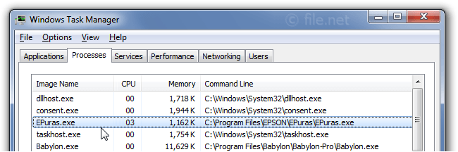 Windows Task Manager with EPuras
