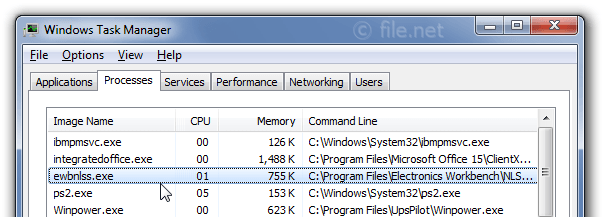 Windows Task Manager with ewbnlss