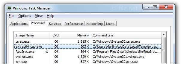 Windows Task Manager with extrac64_cab