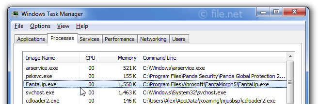 Windows Task Manager with FantaUp