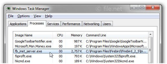 Windows Task Manager with fb_inet_server