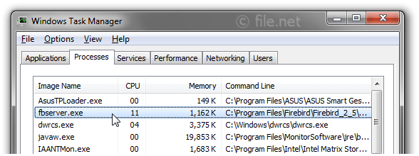Windows Task Manager with fbserver
