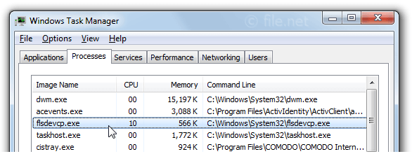 Windows Task Manager with flsdevcp