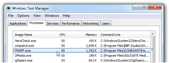 Windows Task Manager with FMAPP