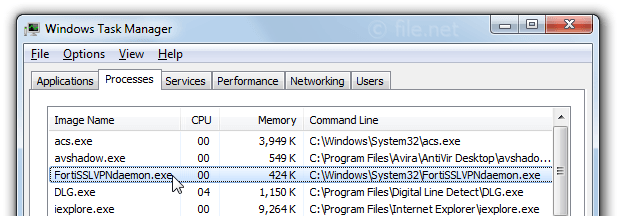 Windows Task Manager with FortiSSLVPNdaemon