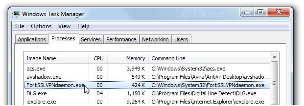 FortiSSLVPNdaemon exe Windows process - What is it?