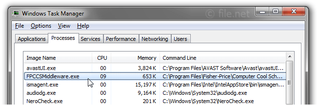 Windows Task Manager with FPCCSMiddleware