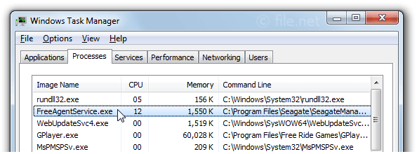Windows Task Manager with FreeAgentService