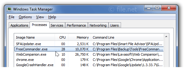Windows Task Manager with FreeCommander