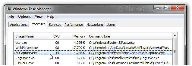 Windows Task Manager with FSCapture