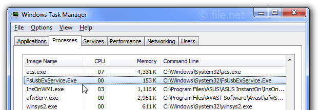 Windows Task Manager with FsUsbExService