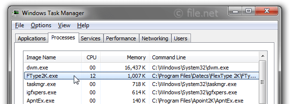 Windows Task Manager with FType2K