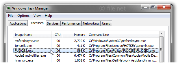 Windows Task Manager with FUJ02E3