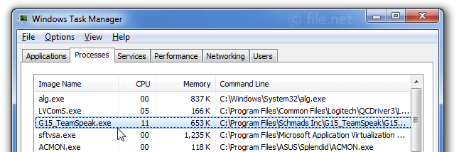Windows Task Manager with G15_TeamSpeak