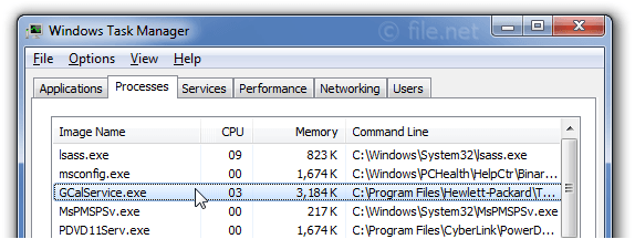 Windows Task Manager with GCalService